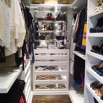 Mirrored Shelves, Contemporary, closet, A.S.D. Interiors