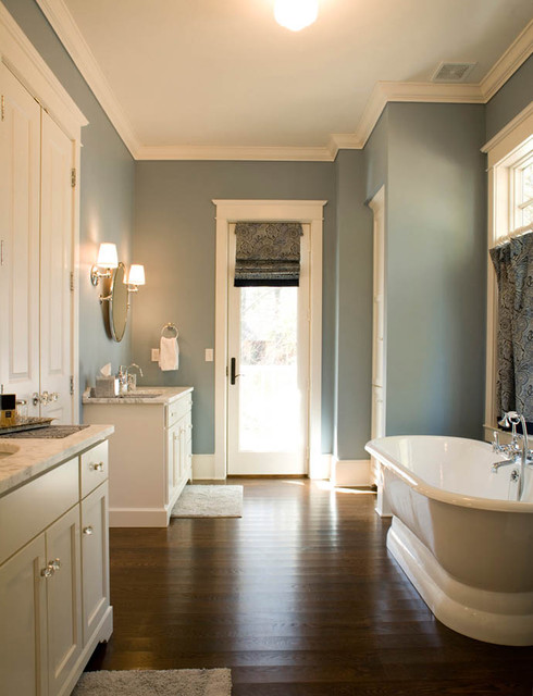 Ivory and blue bathroom transitional bathroom mitch for Hardwood floors in bathroom