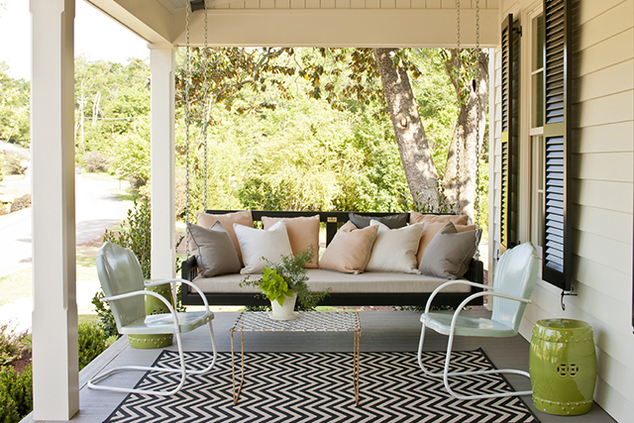 Covered Porch With Outdoor Black And White Chevron Rug, Lime Green Garden  Stool, Glossy Black Shutters, Black Porch Swing Sofa And Peach Pink And  Gray ...