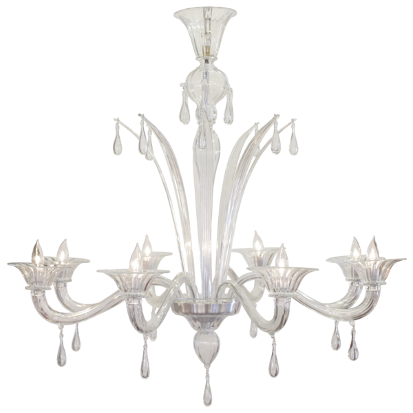 Murano Glass 8 Branch Chandelier By Salviati