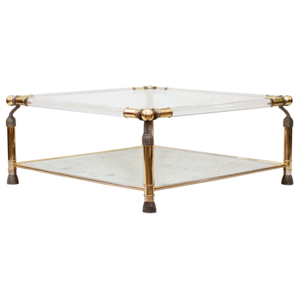 French brass lucite and glass coffee table for Lucite and brass coffee table
