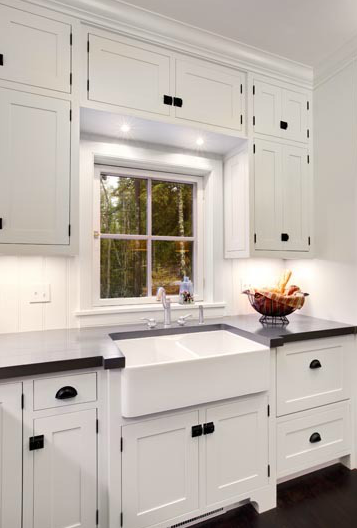 Dual farmhouse sink traditional kitchen mitch wise for White kitchen cabinets black hardware