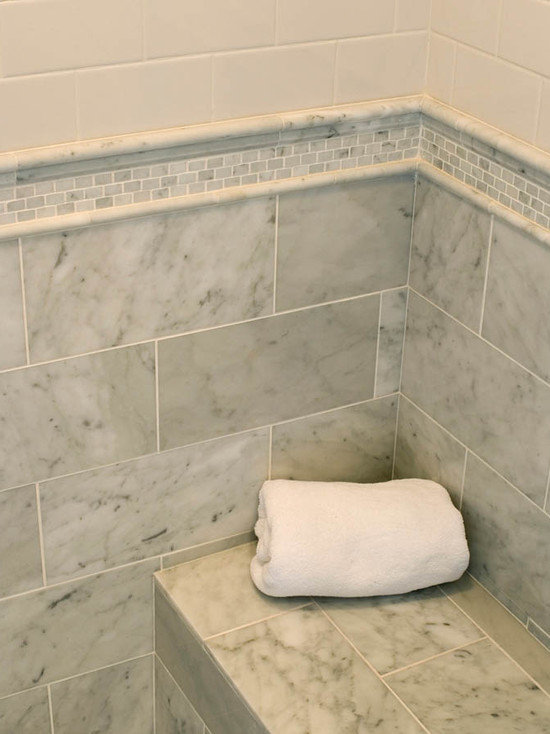 Marble Subway Shower Tile Transitional Bathroom Mitch Wise Design