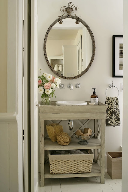 Vintage Bathroom With Gray Vanity Paired White Bowl Vessel Sink Polished Nickel Wall Mounted Faucet Kit Oval Mirror