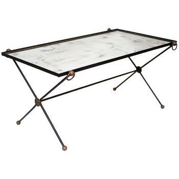 French Vintage Iron and Glass Coffee Table