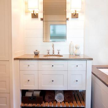 White Vanity with Gray Countertop, , Cottage, bathroom, Mitch Wise Design