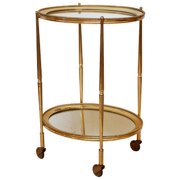 Art Deco Brass and Mirror Tray Table