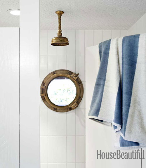 Brass Rain Shower Head Cottage Bathroom House Beautiful