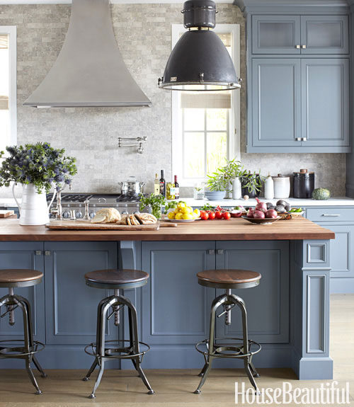 Blue gray cabinets contemporary kitchen farrow for Blue gray kitchen cabinets