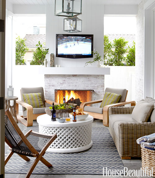 Outdoor Fireplace And Tv Contemporary Deck Patio