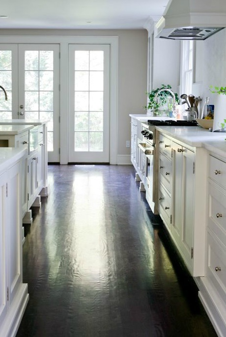 dark wood floors in kitchen. White Kitchen Cabinets with Dark Hardwood Floors  Cottage