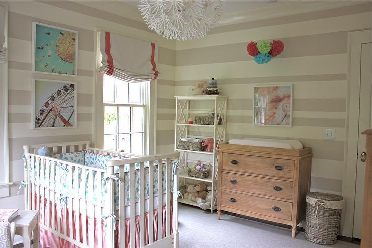 Striped Nursery Transitional Nursery Sherwin Williams Realist Beige