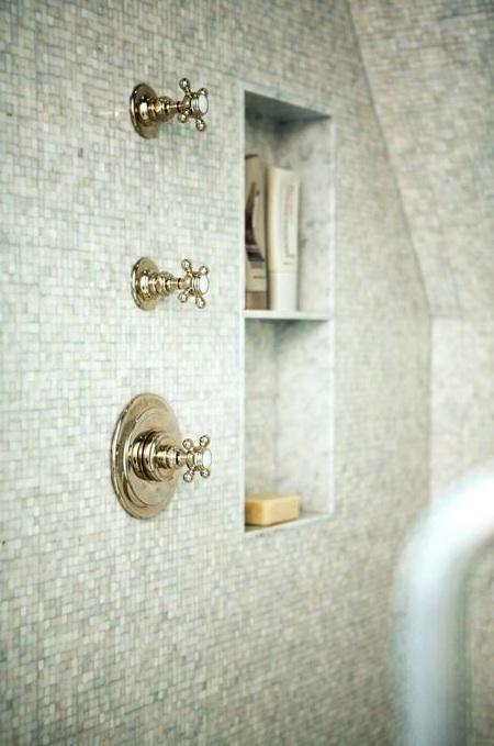 Mosaic tiled shower niche transitional bathroom h2 for Bathroom niche design