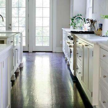 dark hardwood floors. Interesting Dark White Kitchen Cabinets With Dark Hardwood Floors And
