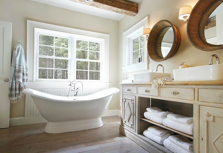 Cottage Bathroom With Soft Sand Walls Freestanding Tub With Beadboard