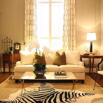 Gold Leaf Coffee Table with Mirrored Top, Transitional, living room, Mythic Paint Cane Pole, M. E. Beck Design
