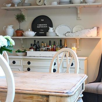 White Washed Dining Table Cottage