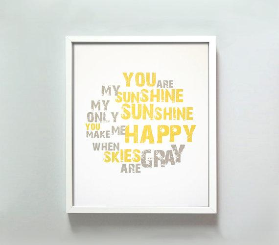 You Are My Sunshine print by GusAndLula - Etsy