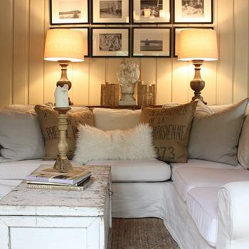 White Slipcovered Sectional, Cottage, living room, My Sweet Savannah