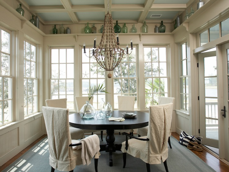 Sunroom Dining Room With Vaulted Glass Ceiling - Transitional