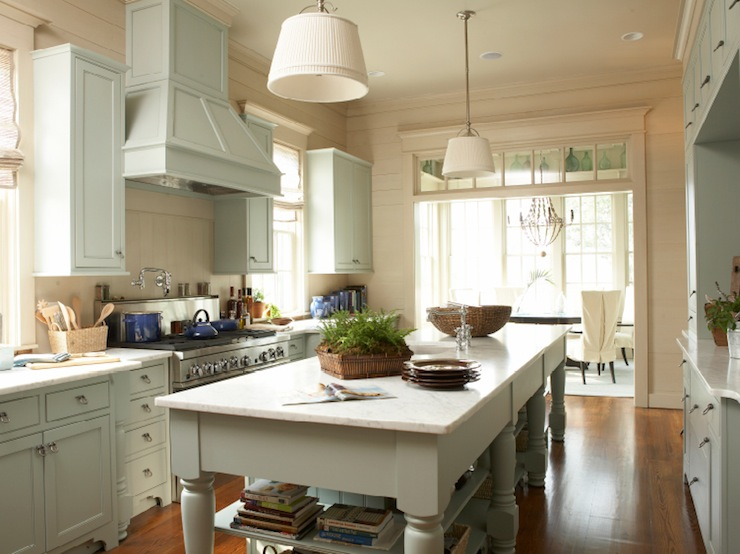 Gray green kitchen cabinets cottage kitchen tammy for Grey green kitchen cabinets