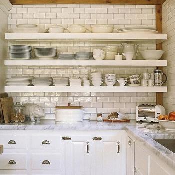 Subway Tiles Backsplash, Cottage, kitchen, House Beautiful