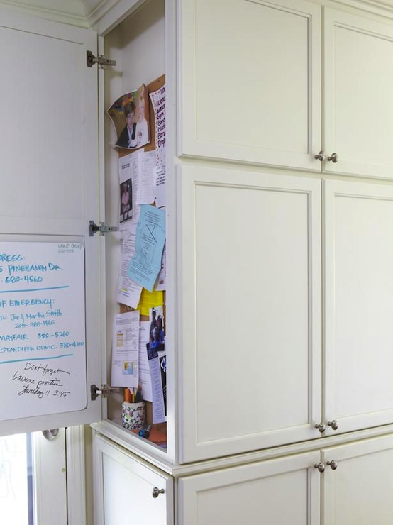 Amazing Message Center (bulletin Board U0026 Dry Erase Board) Hidden Behind  Shaker Cabinet Door.