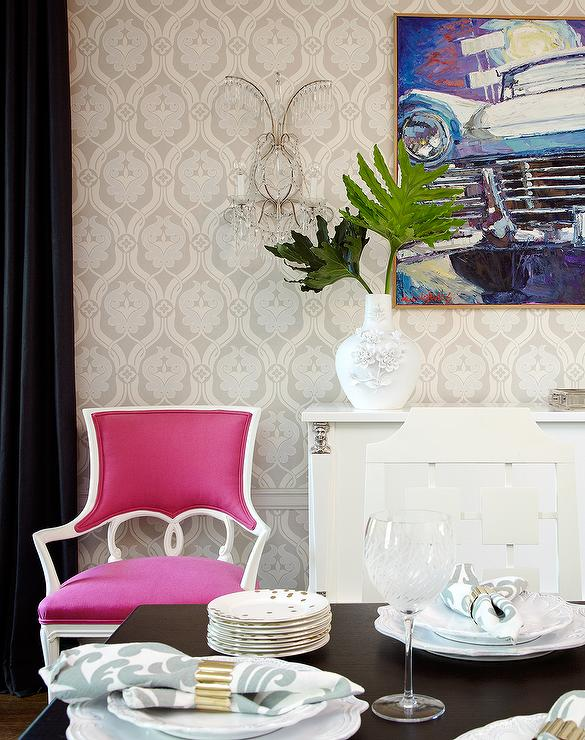 Pink dining chairs eclectic dining room amie corley for Pink dining room ideas