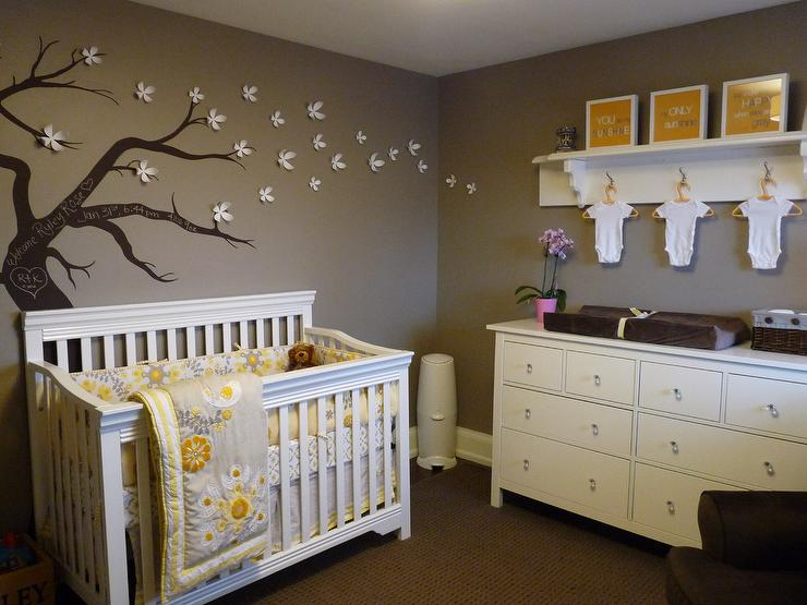 yellow and gray nursery - contemporary
