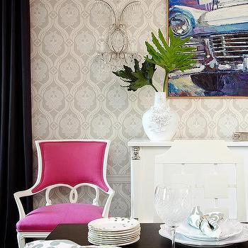 Pink Dining Chairs, Eclectic, dining room, Amie Corley Interiors