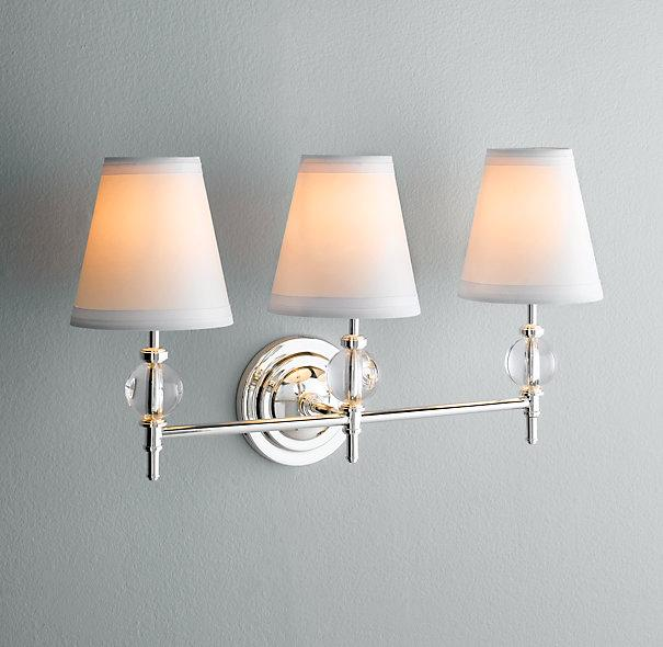 Wilshire triple sconce bath sconces restoration hardware Restoration bathroom lighting
