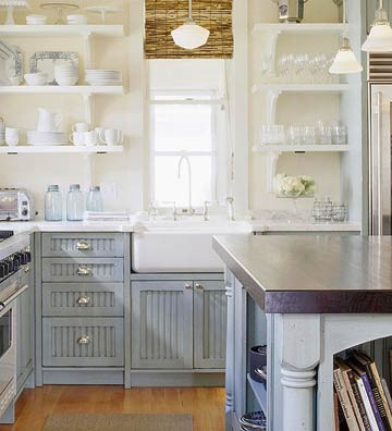 cottage kitchen with gray blue cabinets paired with white marble countertops whilst gray blue kitchen island is covered in butcher block countertop - Blue Kitchen Cabinets