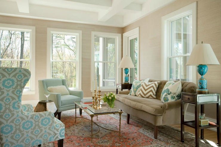 Turquoise And Brown Living Room brown and turquoise living room - cottage - living room - tracery