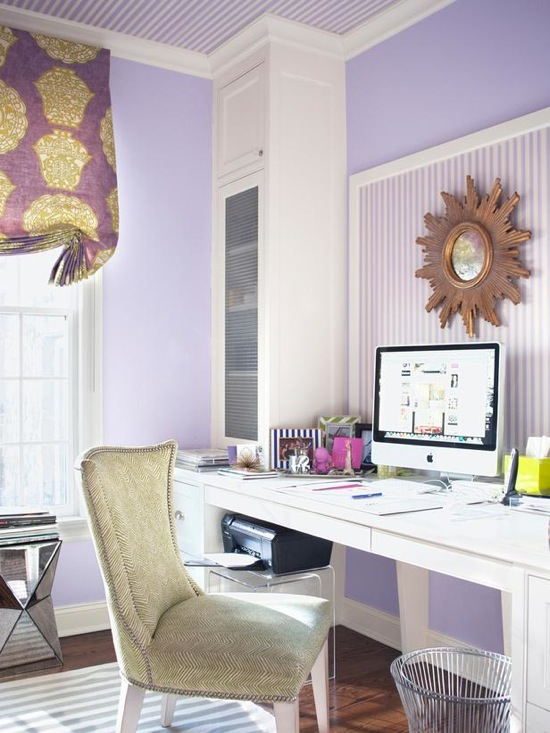 Attractive Chic Purple Office With White And Purple Striped Ceiling, Purple Walls,  Brass Sunburst Mirror On White And Purple Striped Bulletin Board, White  Built In ...