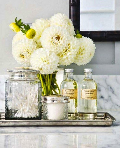 Vintage apothecary jars traditional bathroom this is - How to decorate a bathroom counter ...
