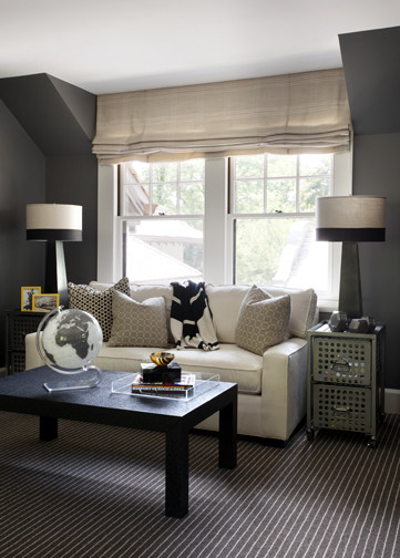 Boyu0027s Attic Play Room With Charcoal Gray Walls, Modern White Sofa In Front  Of Window Covered In Burlap Linen Roman Shade, Black Pyramid Lamps On Metal  ...