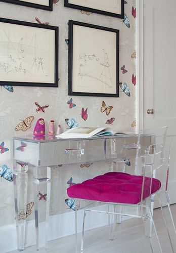 amazing girlu0027s room with mirrored desk with lucite legs lucite chair with fuchsia tufted cushion and farfalla wallpaper by nina campbell