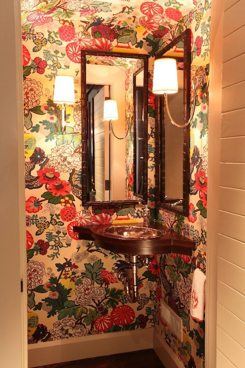 Chiang Mai Dragon Wallpaper Eclectic Bathroom Liz