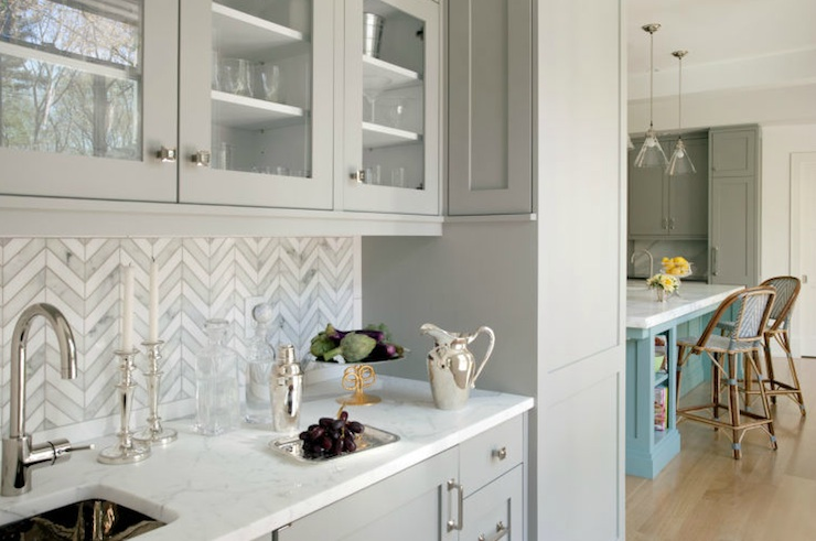 White Kitchen Herringbone Backsplash gray marble herringbone kitchen backsplash design ideas