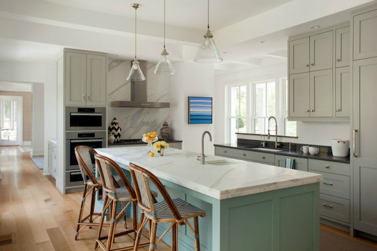 Turquoise and Gray Kitchen, Contemporary, kitchen, Liz Caan Interiors