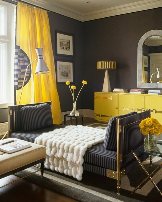 yellow and gray living room design with charcoal gray walls canary