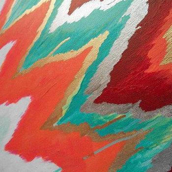 Jive Original ikat chevron 36x48 Painting by by JenniferMoreman