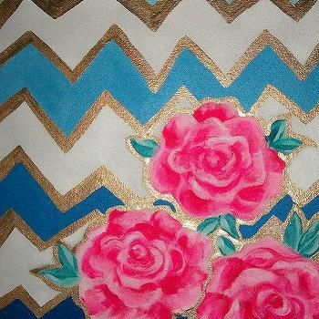 Made to Order Chevron and Roses 36x36 by JenniferMoreman on Etsy