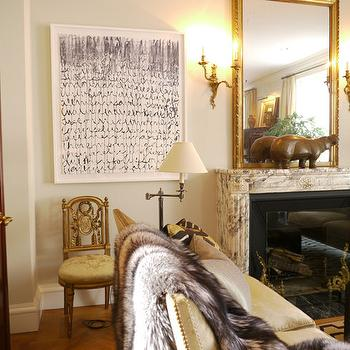 French Breche Violette Marble Mantle, Eclectic, living room, New York Social Diary