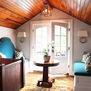 Turquoise Bench, Eclectic, entrance/foyer, Liz Caan Interiors