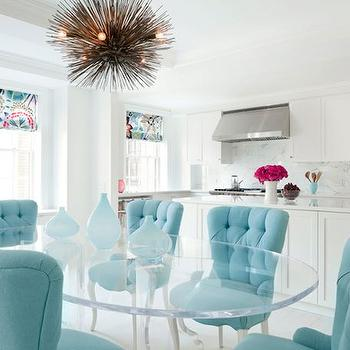 Turquoise Velvet Chairs, Eclectic, dining room, Fawn Galli Interiors