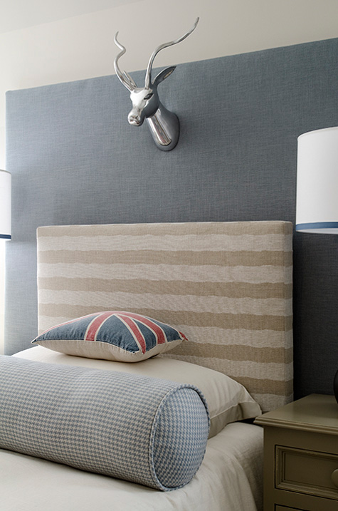 Boy S Room With Tan Striped Headboard Layered Over Blue Adds Visual Interest To This Bedroom