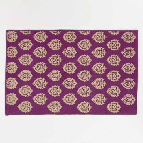 2732aed41724e8 2'x3' Purple and Gold Block Print Dhurrie Rug - World Market