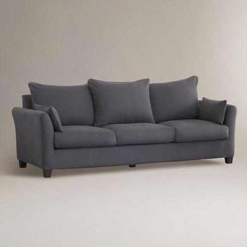 Charcoal Luxe Three Seat Sofa Canvas Slipcover Collection