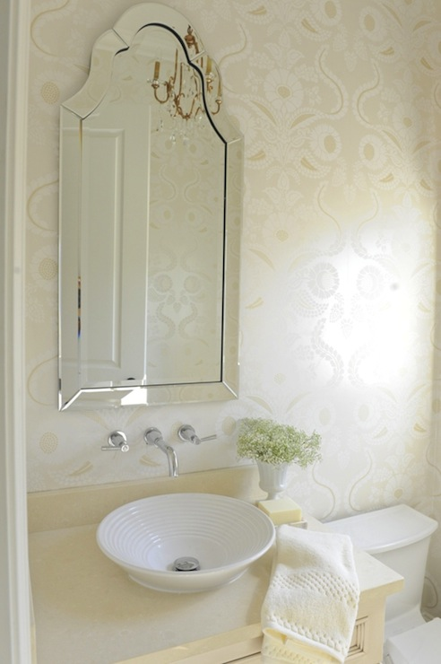 Arch Frameless Mirror Traditional Bathroom